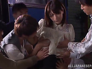 Icy sexy oriental cowgirl screaming as this babe is ravished in a group sex