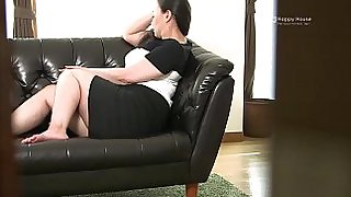 Japanese BBW Strips and Shows Her Fat Ass and Tits While Masturbating